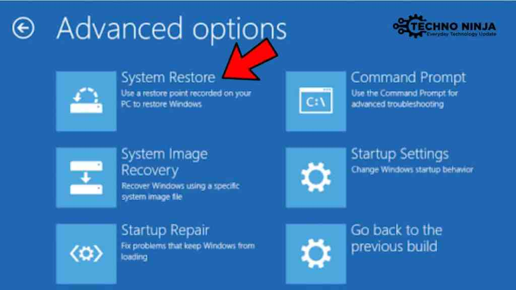Choose System Restore Option