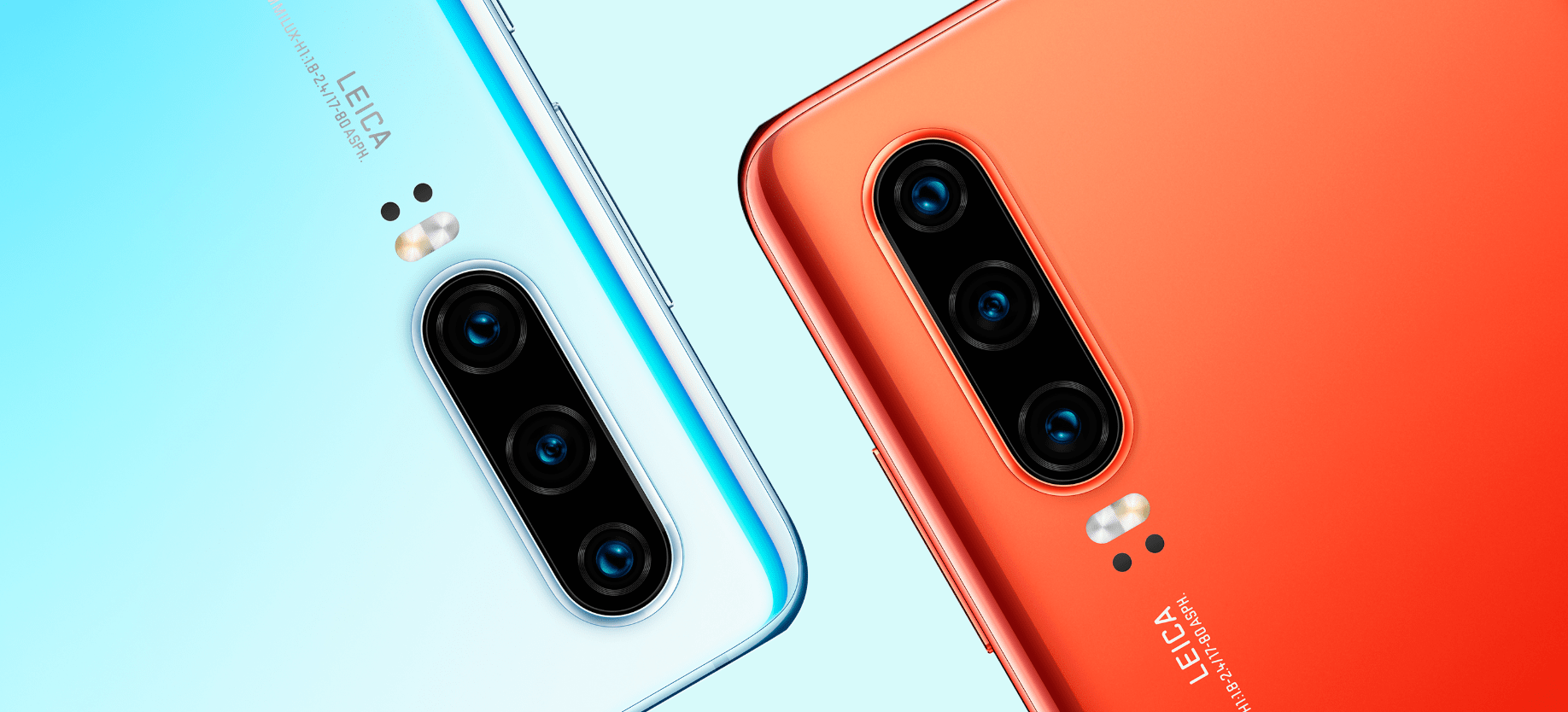 Orange and Blue Huawei P30 phones