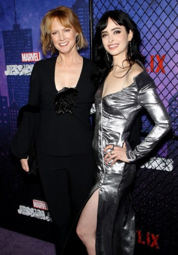 Krysten Ritter and Melissa Rosenberg posing together at a Jessica Jones screening event