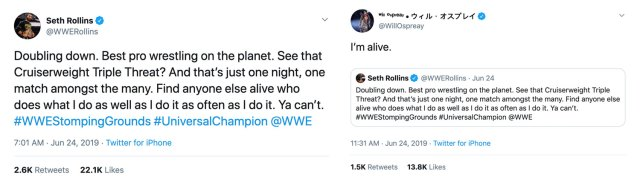 Twitter screenshots of Seth Rollins and Will Ospreay