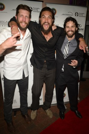 L-R: Brian Andrew Mendoza, Jason Momoa and Robert Homer Mollohan Credit to Gustavo Caballero/Getty Images North America)