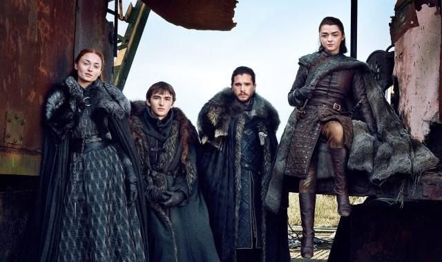Sansa Stark (Sophie Turner), Bran Stark (Isaac Hempstead Wright), Jon Snow (Kit Harington) and Arya Stark (Maisie Williams). via Entertainment Weekly