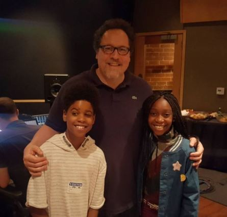 Director Jon Favreau with JD McCrary and Shahadi Wright Joseph via bckonline.com