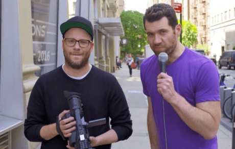 """Seth Rogen and Billy Eichner in """"Billy On The Street"""" show via nme.com"""