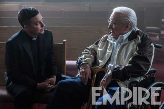 Robert De Niro as an 80-year-old Frank Sheeran in a scene with a priest portrayed by Father Jonathan Morris. via Empireonline.com