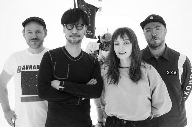 Hideo Kojima (second from left) with the band Chvrches (Iain Cook, Lauren Mayberry and Martin Doherty) via Hideo Kojima's Twitter