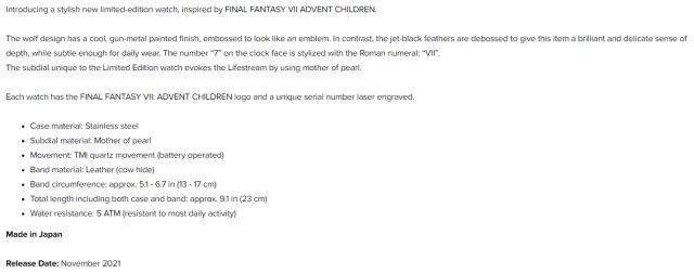Final Fantasy VII Advent Children watches