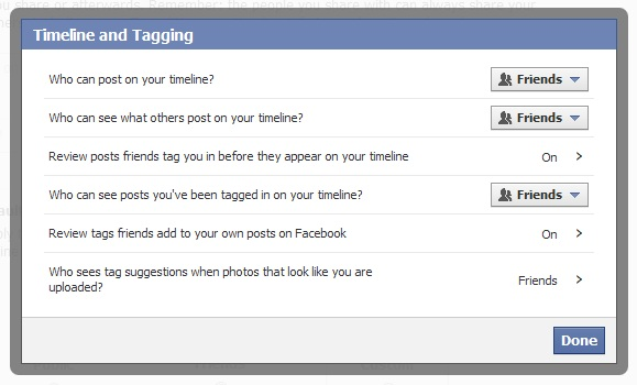 timeline and tagging options in facebook