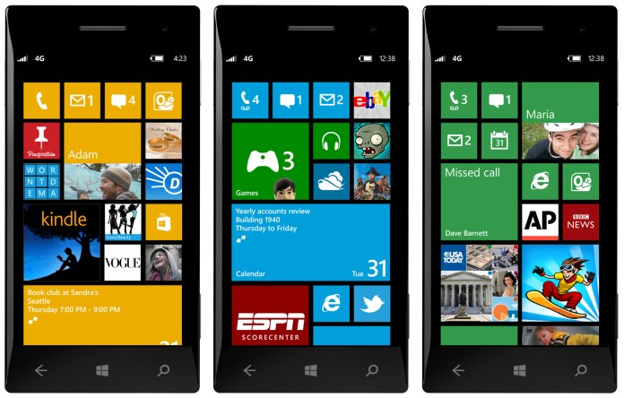 windows phone 8 start screens