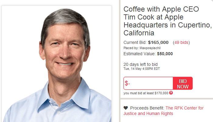 Tim Cook is Auctioning a Coffee and Chat With Him at Apple HQ for Charity