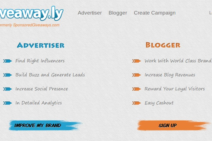Giveaway.ly - World's First Advertising Platform helping Advertisers host Giveaways on Targeted Blogs
