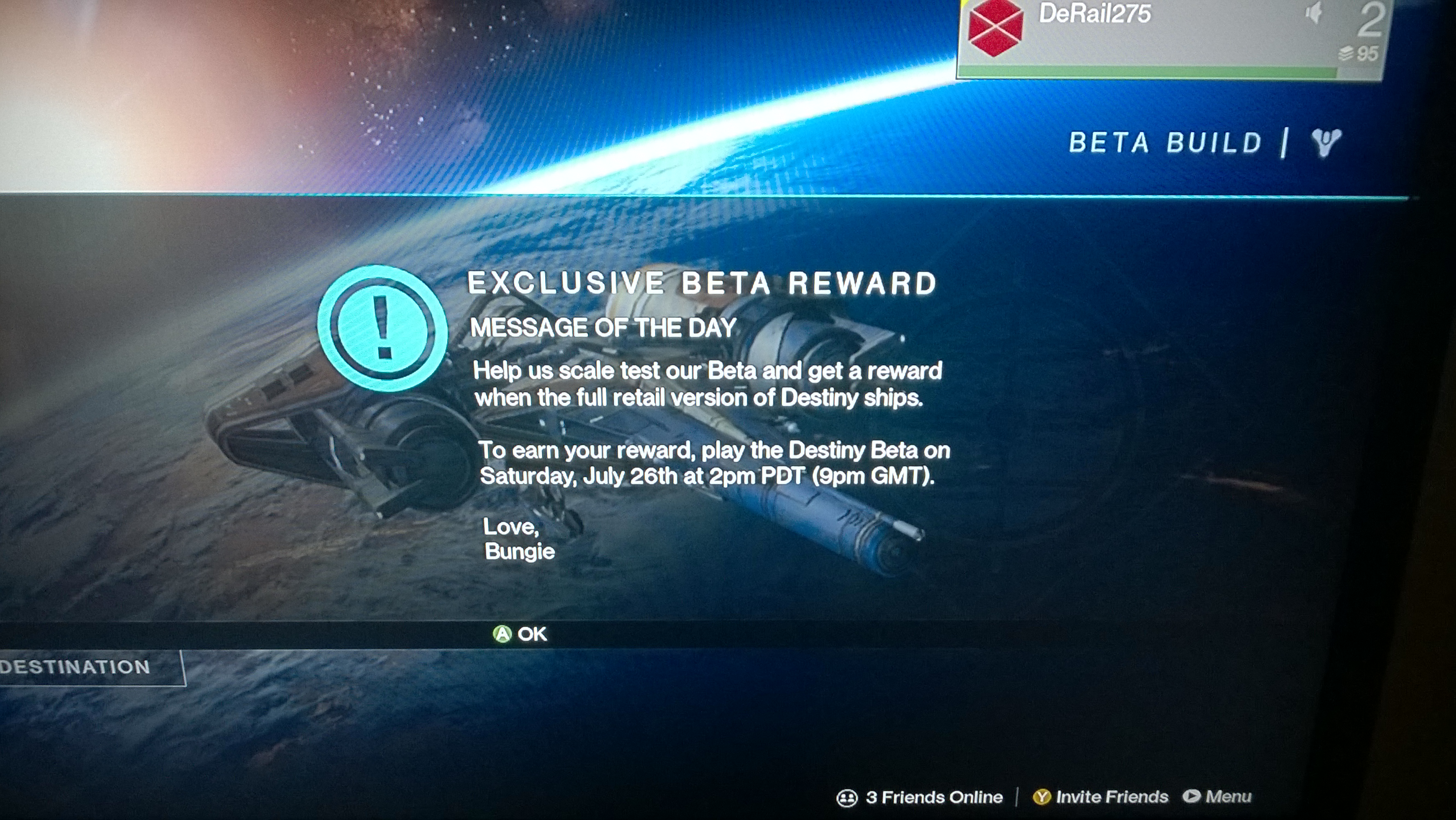 Exclusive Destiny Beta Award This Saturday, From Bungie