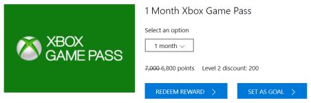 Xbox game pass microsoft rewards