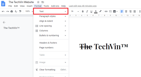 how to strikethrough on google docs