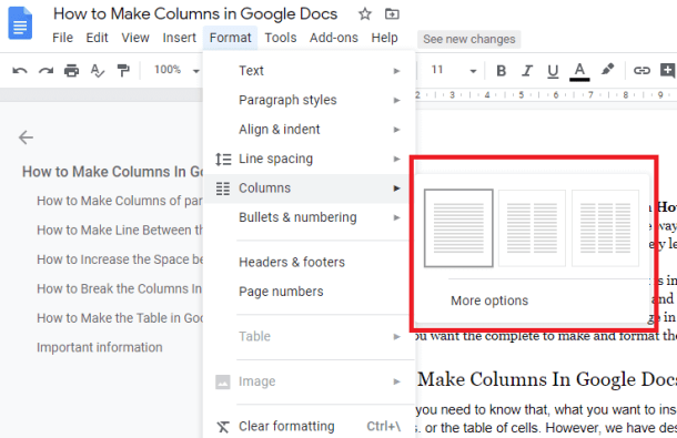 Select the columns in google docs