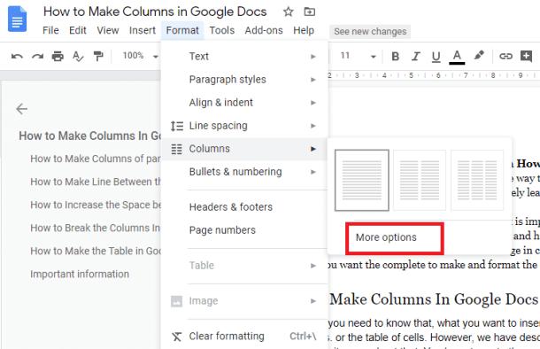 More option for columns in google docs