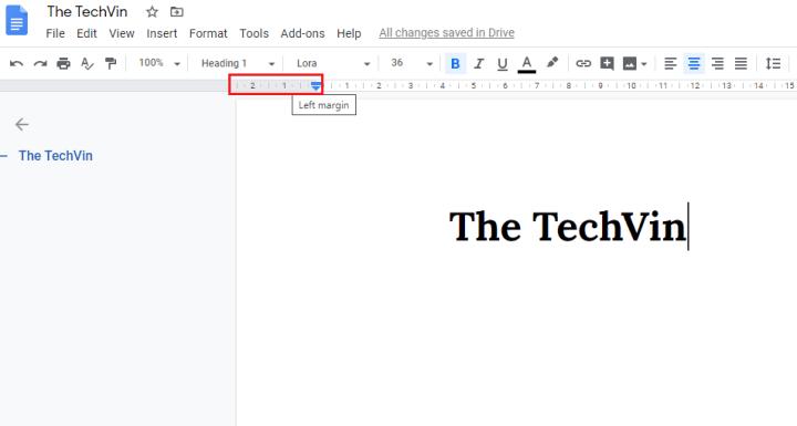 Left margin in google docs ruler