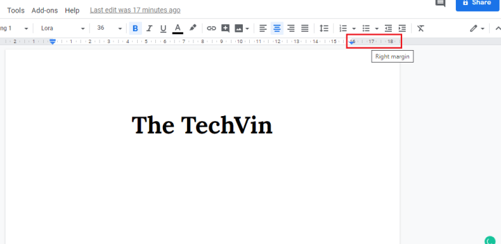 How to Change the right margin in google docs