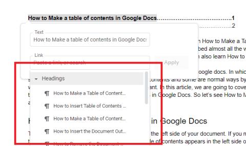 google docs table headings