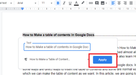 how to create a table of contents in google docs