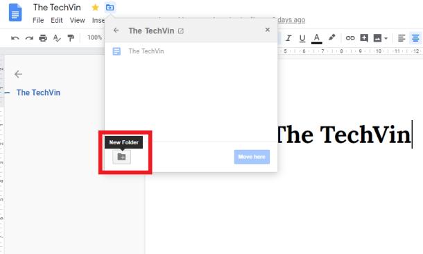 New Folder in Google DOcs