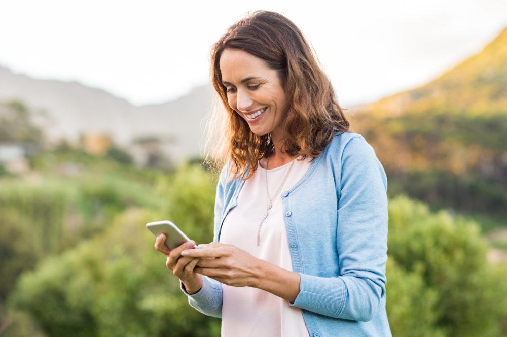 Woman Using Messaging App