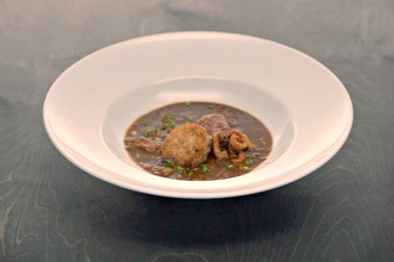 Isaac's Duck gumbo with roasted jalapeno andouille sausage, crispy rice cake and duck cracklings