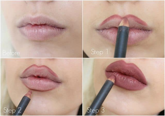 Filling in lips completely with lip liner