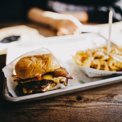 A burger and fries.