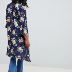 Navy blue floral robe