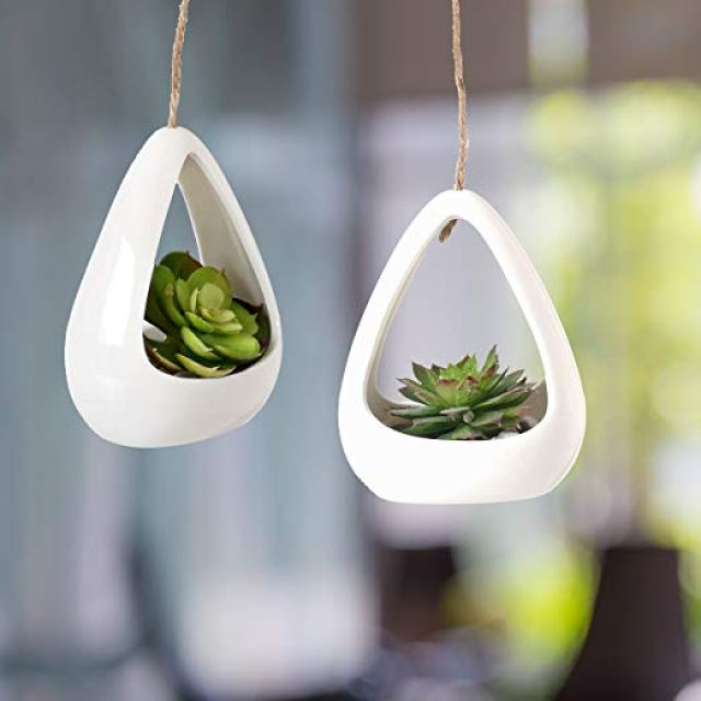 Image description: Two oblong white planters each hanging on a rope, with an opening for plants.