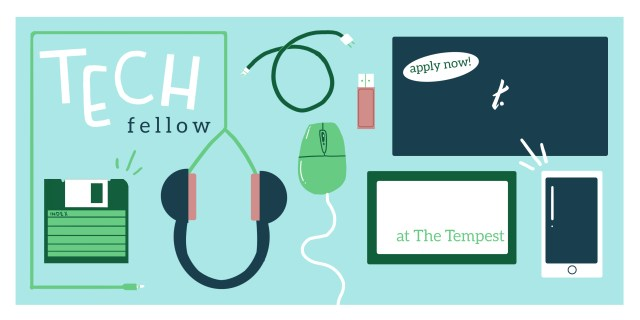 Image has text Tech fellow and Apply now. Image has graphics of a laptop, computer mouse, headphones, a floppy disc, a USB, a cable, and a phone
