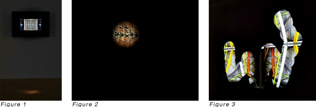 Image from artist AnnieLaurie Erickson's website [image description: 3 images- the first of a dark video screen in a dark room, the second a close up of a screen that is mostly black except for on circle of image showing cords from a server, the third of a squiggly trail of circles like in the last image.]