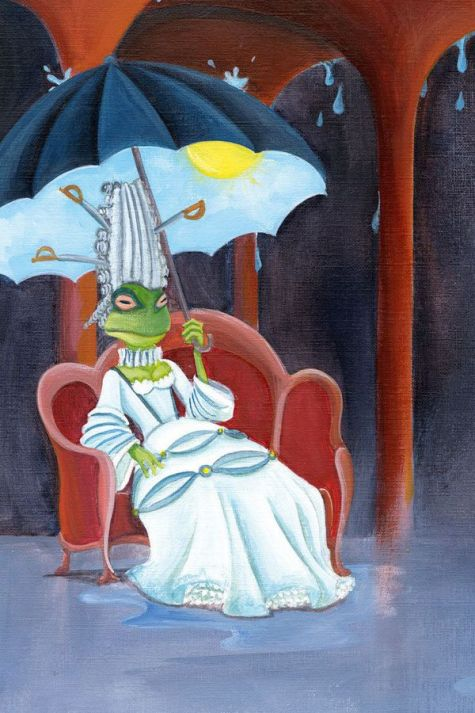 An illustration of a frog sitting in a large red lounge chair, wearing a fancy white ballgown with an 18th century French updo that has swords sticking out of it. The frog holds an umbrella that has a blue sky with a sun on the underneath. Above the frog, the roof is raining
