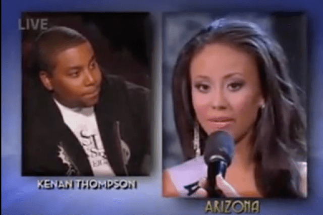 [Image description of Kenan Thompson and Miss Arizona 2009] via dailybeast video