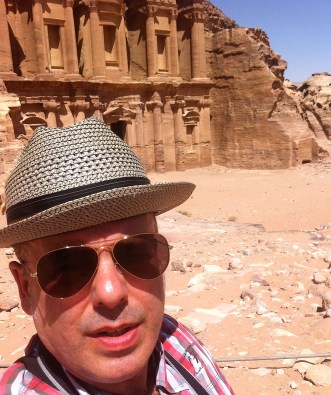 Outside the co-called Monastery in Petra