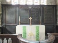 Simple communion table and Ten Commandments
