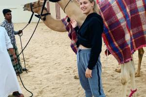 Eugenie Bouchard in Doha rode a camel.