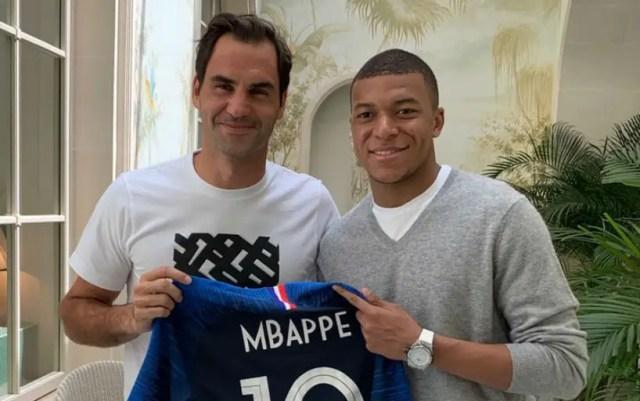 Roger Federer meets with Kilian Mbappe