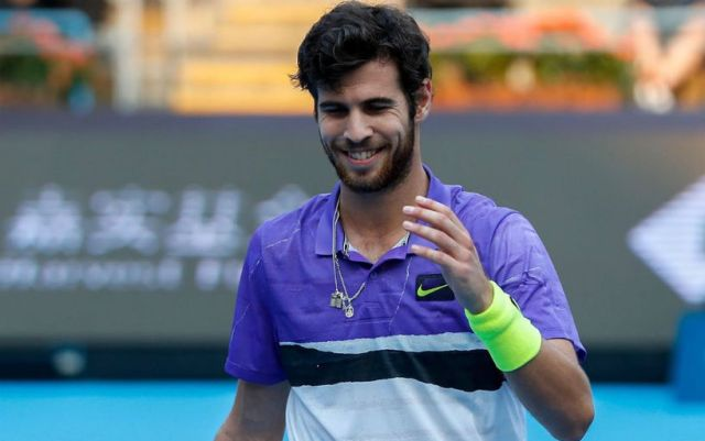 Karen Khachanov photographed on the Great Wall of China