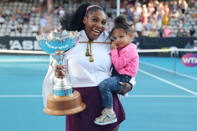 Serena Williams with her daughter and ASB Cup