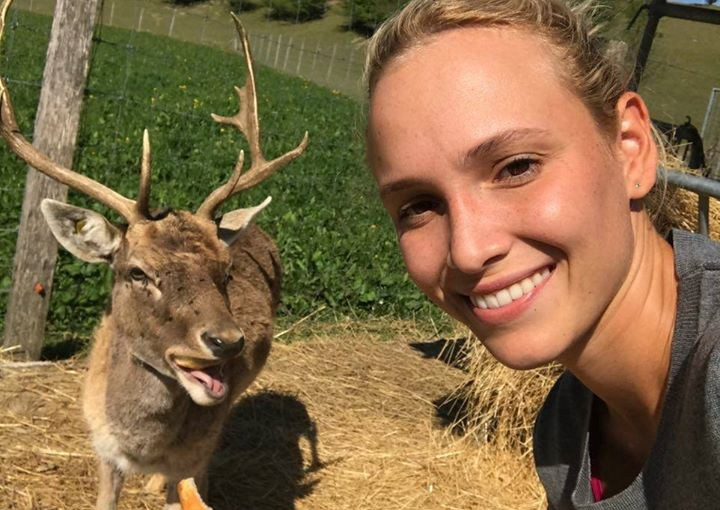 Donna Vekic in Switzerland with a Deer Friend ;)
