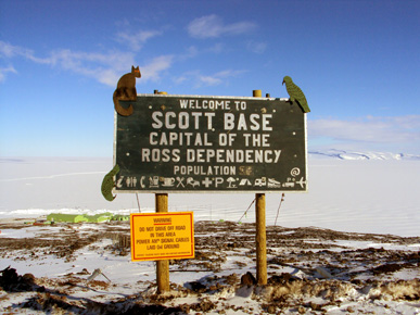 Welcome to Scott Base sign (Nov 2011)
