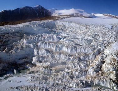 Glacier cascade by Mackay Glacier terminus (Jan 2013)