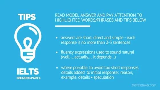 IELTS Speaking part 1 tips