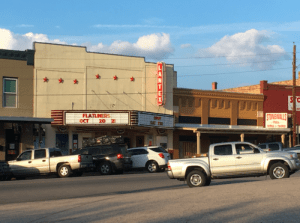 Movie marquee in downtown Llano Texas