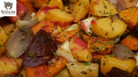 The Roasted Vegetables featuring a delicious mix of root vegetables including sweet potato, beetroot and carrots.