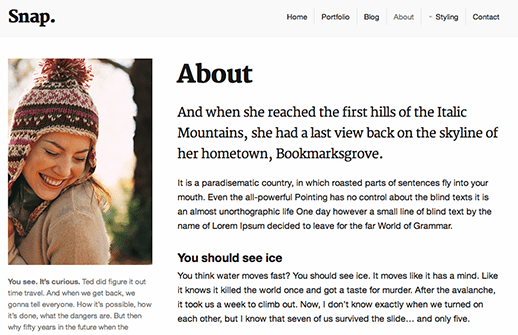 Screenshot of demo profile page