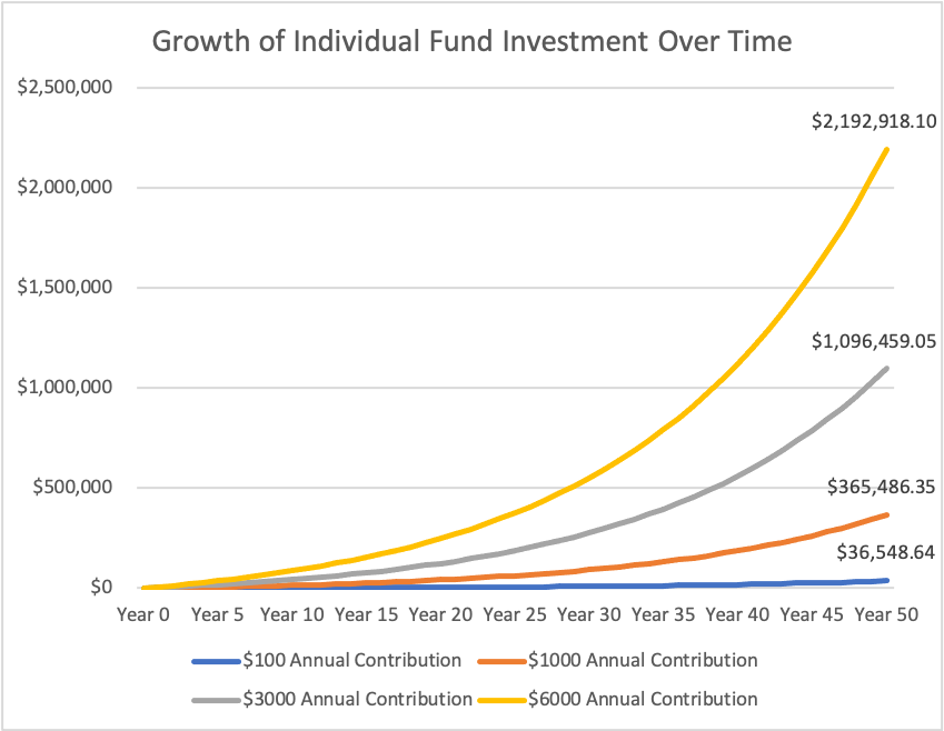 growth of individual fund investment over time