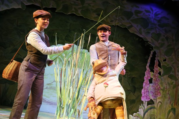 Jeremy Fisher goes fishing: Molly Waters & Steven Hardcastle in WHERE IS PETER RABBIT? opening at the Old Laundry Theatre, Bowness-on Windermere, Cumbria, England on 28/06/2016 music: Steven Edis lyrics: Alan Ayckbourn based on the original tales by Beatrix Potter set design: Roger Glossop costumes: Caroline Hughes lighting: Jason Taylor choreographer & director: Sheila Carter ©Donald Cooper/Photostage donald@photostage.co.uk ref/0003